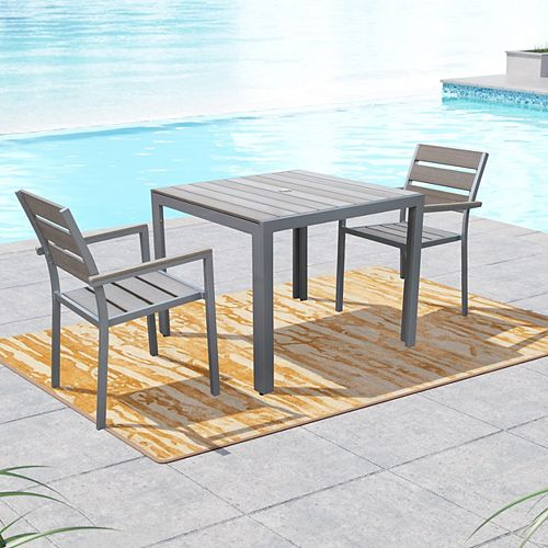 Gallant 3-Piece Outdoor Dining Set in Sun Bleached Grey