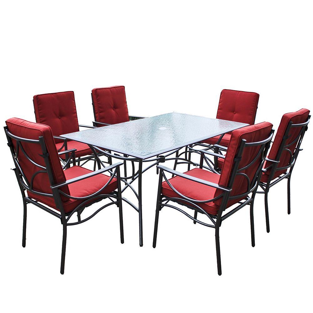 Corliving Ensemble repas 7 pièces pour la terrasse couleur rouge et charbon