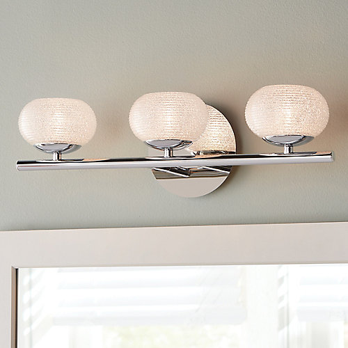 3-Light Bathroom Vanity Light Fixture in Chrome with Round Glass Shades