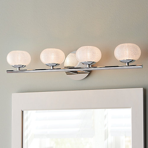 4-Light Bathroom Vanity Light Fixture in Chrome with Round Glass Shades