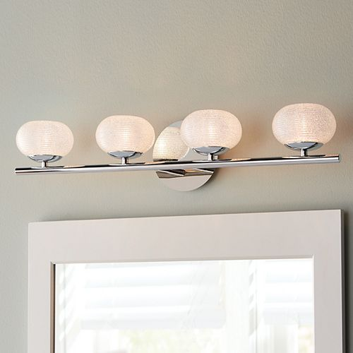 Home Decorators Collection 4-Light Bathroom Vanity Light Fixture in Chrome with Round Glass Shades