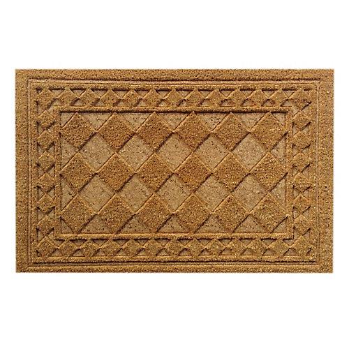 Paillasson d'intérieur/extérieur Bordure gaufrée, 1 pi 6 po x 2 pi 6 po, rectangulaire, fibre de coco, beige et havane