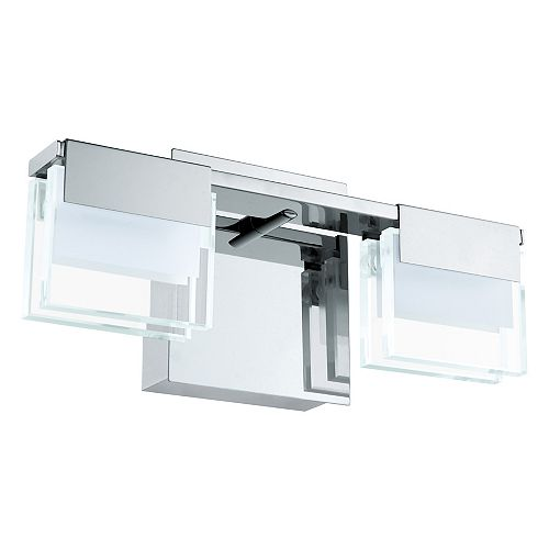 Vicino LED Wall Light 2L, Chrome Finish with Clear and Frosted Glass - ENERGY STAR®