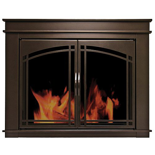 Pleasant Hearth Fenwick Medium Glass Fireplace Doors