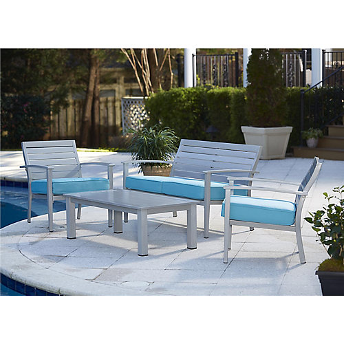 Blue Veil 4-Piece Conversation Set with Coffee Table