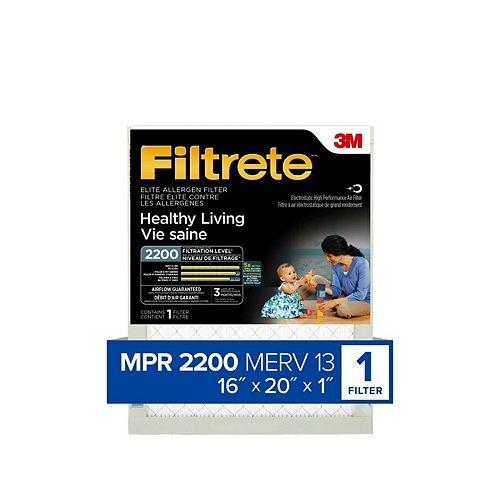 16-po x 20-po x 1-po Filtre élite pour la réduction des allergènes MPR 2200 «Vie saine» Filtrete(MC)