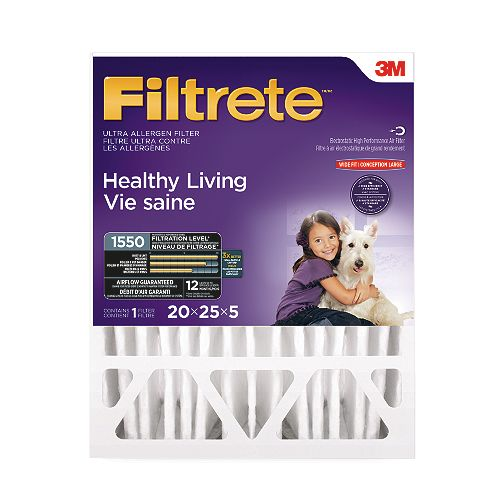 Filtrete Filters 20-inch x 25-inch x 5-inch Healthy Living MPR 1550 Ultra Deep Pleat Furnace Filter