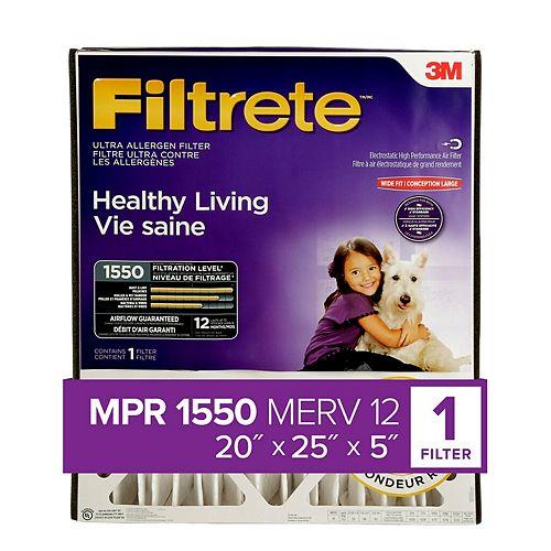 Filtrete Filters 20po x25po x5po MPR1550 Filtre pour la réduction des allergènes à plis profonds Filtrete