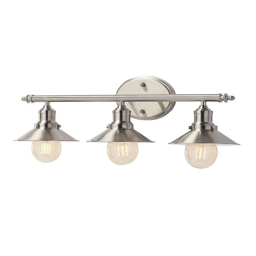 Home Decorators Collection Applique de salle de bains Glenhurst, nickel brossé, 3 ampoules, abat-jour en métal
