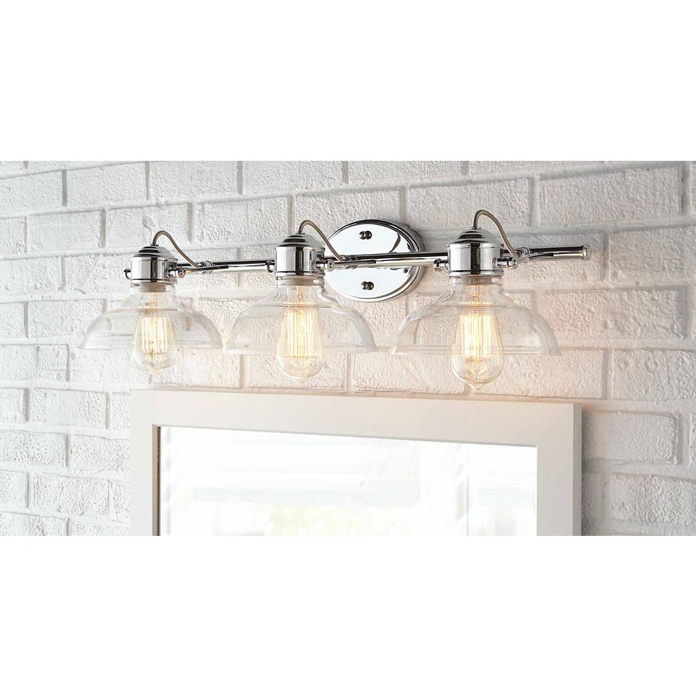 Home Decorators Collection Delacorte 3-Light Chrome Vanity Light with Clear Glass Shades