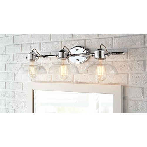 Delacorte 3-Light Chrome Vanity Light with Clear Glass Shades