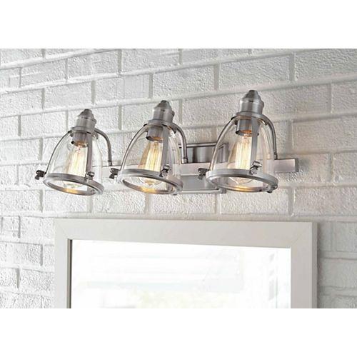 Applique de salle de bains Alidian, nickel brossé, 3 ampoules, diffuseurs en verre