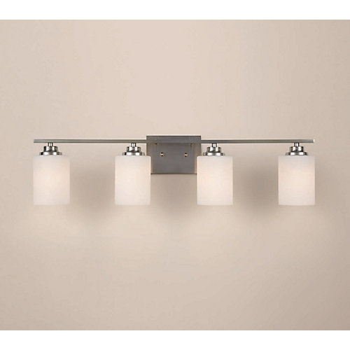 4-Light Brushed Nickel Vanity Light with Round Glass Shades