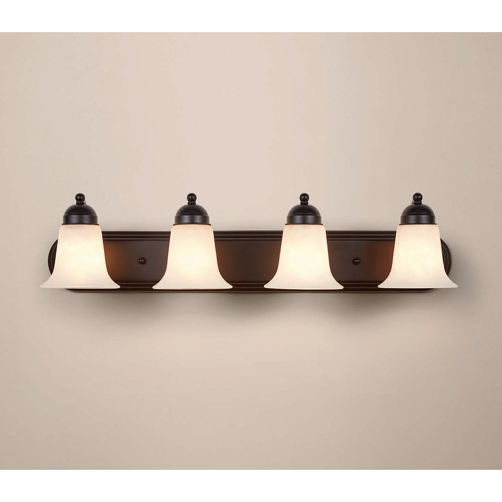 Home Decorators Collection 4-Light Oil-Rubbed Bronze Vanity Light with Frosted Glass Shades