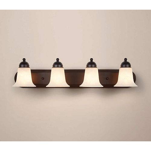 4-Light Oil-Rubbed Bronze Vanity Light with Frosted Glass Shades