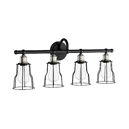 Rallino 4-Light Brushed Nickel Vanity Light with Black Metal Cage Shades