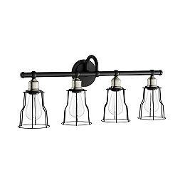 Applique de salle de bains Rallino, noir, 4 ampoules sous protecteurs grillagés noirs mat