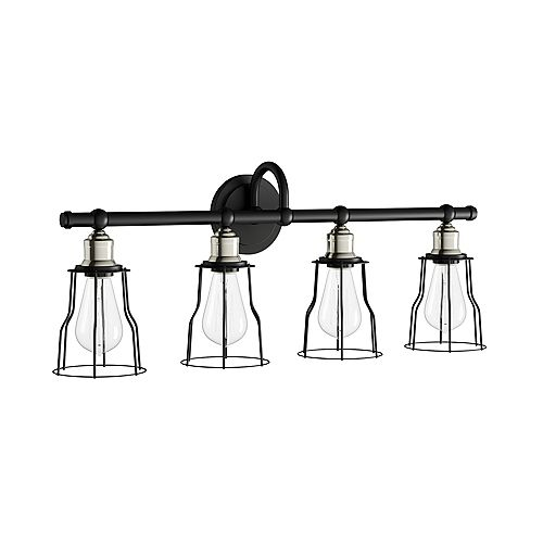 Rallino 4-Light Black Vanity Light with Metal Cage Shades
