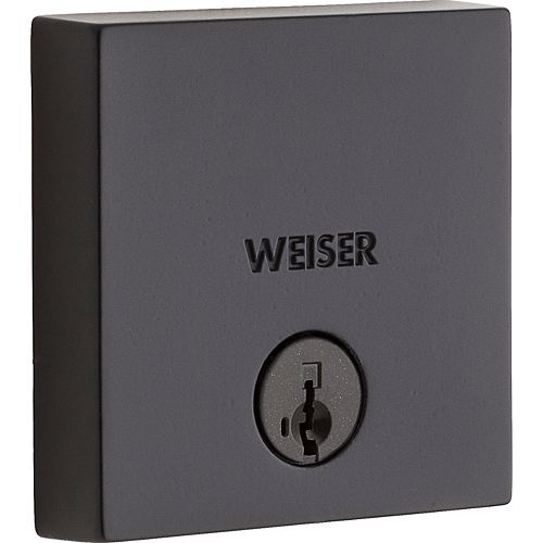 Weiser Low Profile Single Cylinder Square Deadbolt in Black