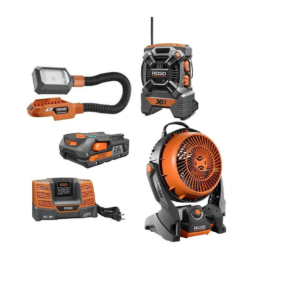 RIDGID 18V Hybrid Fan, Radio, & Flexlight Combo Kit with Battery & Charger