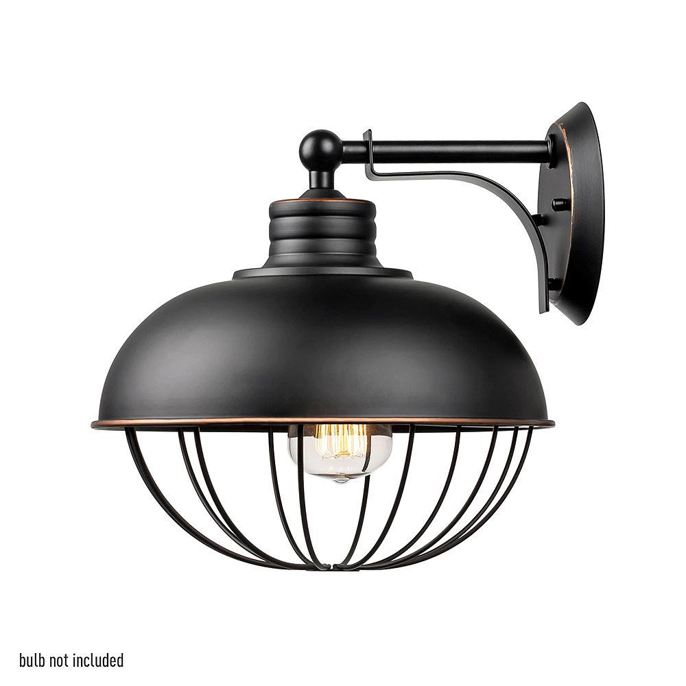 Globe Electric Applique à 1 lumière en forme de cage en fini de bronze huilé, nécessite 1 ampoules A19 Type-S