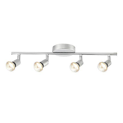 Ensemble d'éclairage sur rail à 4 lumières, collection Payton, argent mat