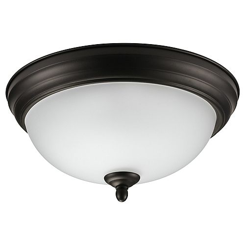 Globe Electric Dobson 1-Light Oil Rubbed Bronze & Frosted Glass Flush Mount - ENERGY STAR®