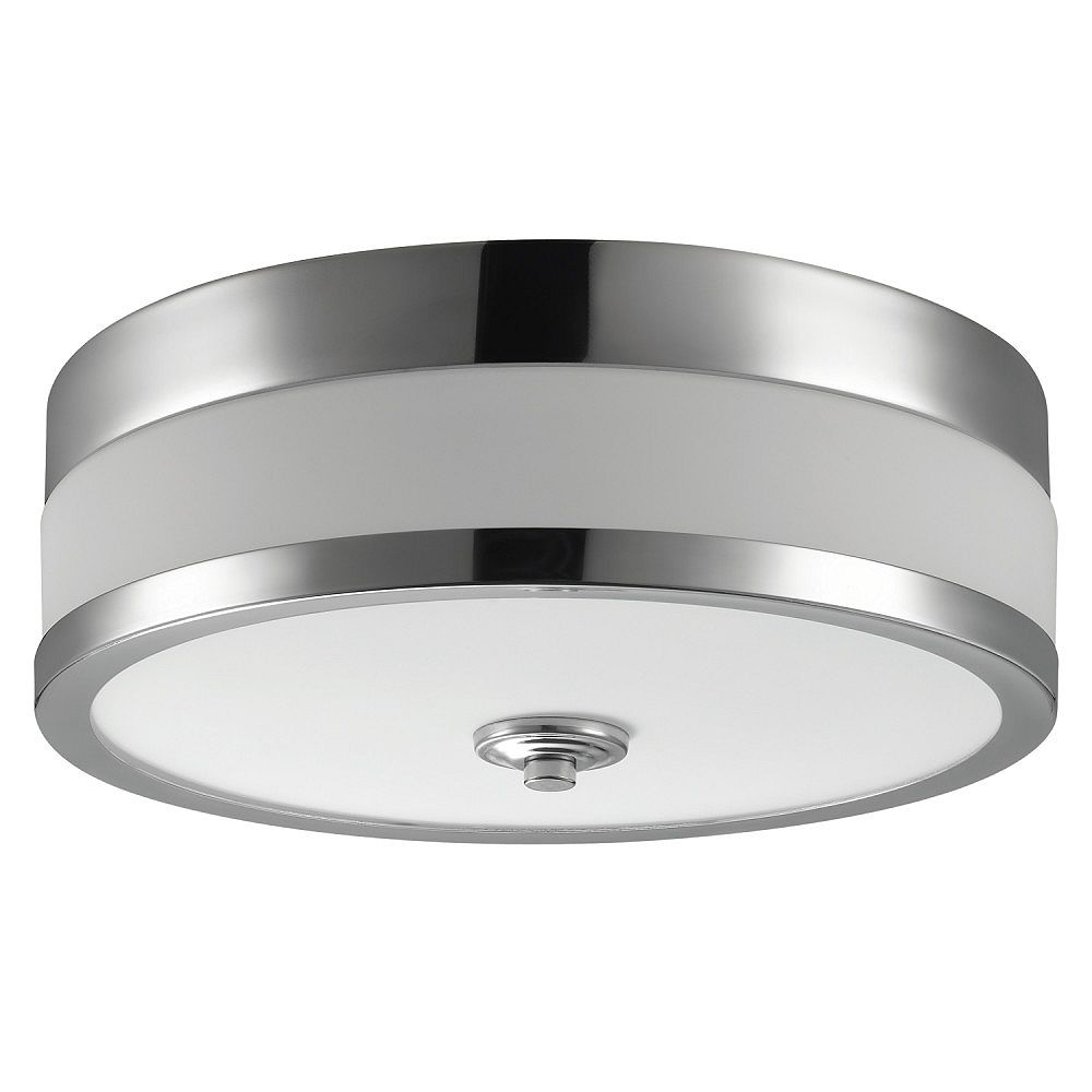 Globe Electric Carolina 11 Inch 1 Light Chrome Flush Mount Ceiling Fixture The Home Depot Canada