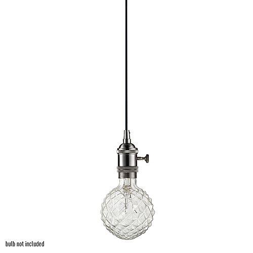 Danburite 1-Light 60W Brushed Steel Plug-In or Hardwire Pendant