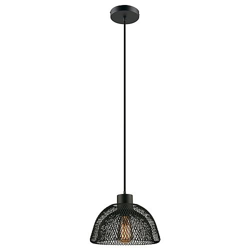Williamsburg 1-Light Plug-In or Hardwire Mesh Bowl Pendant Light Fixture in Black