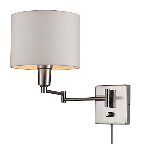 Bernard 1-Light Brushed Steel & White Plug-In or Hardwire Wall Sconce Fixture