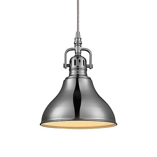 Luminaire Pendentif À 1 Lumière, Collection Abbey - Fini Acier Brossé