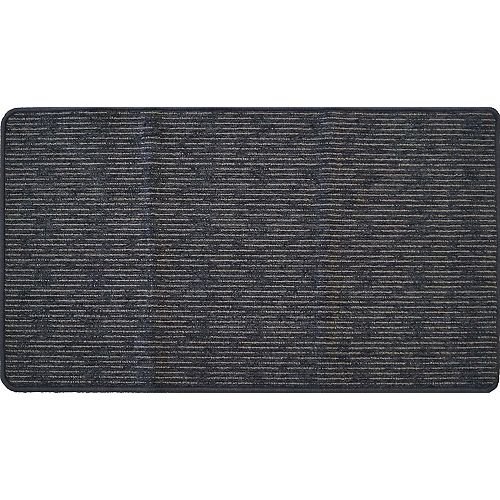 Paillasson d'intérieur California Stripe, 1 pi 11 po x 3 pi 4 po, rectangulaire, gris Metropolitan