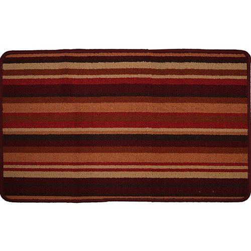Carpette utilitaire d'intérieur, 1 pi 8 po x 2 pi 8 po, rectangulaire, rouge Havana Stripe