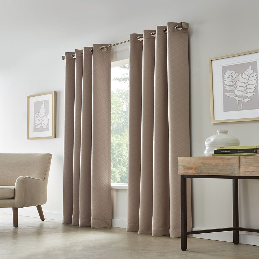Home Decorators Collection Cut Diamond Woven Blackout Grommet Curtain 52 inches width X 84 inches length, Taupe