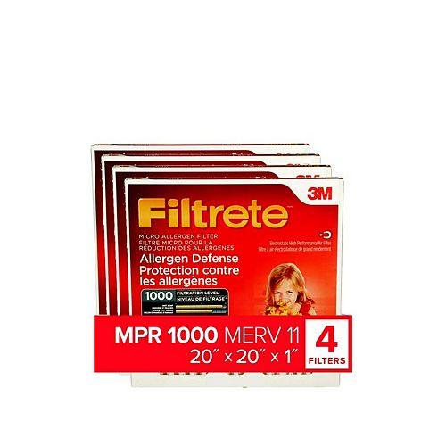 20-pouce x 20-pouce x 1-pouce Filtre micro MPR 1000 «Protection contre les allergènes» Filtrete(MC)