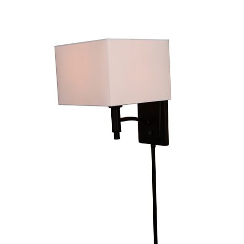 Home Decorators Collection Minimalist 1-Light 60W Black Plug-In Sconce with Cord Covers