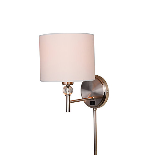 1-Light 60W Brushed Nickel Plug-In Sconce with Cord Covers