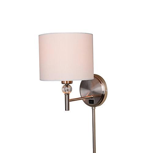 Applique à brancher, nickel brossé, une ampoule, 60W, avec moulures cache-fil