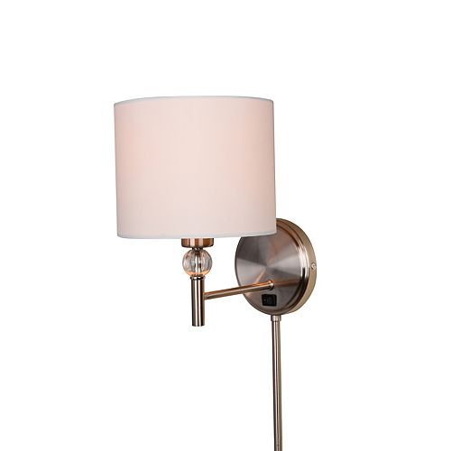 Home Decorators Collection 1-Light 60W Brushed Nickel Plug-In Sconce with Cord Covers