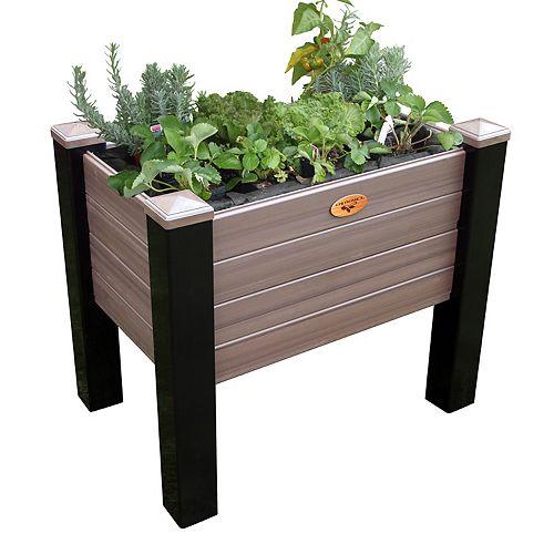Jardinière surélevée sans entretien de 45cm x 121cm x 81cm Noir / Noyer