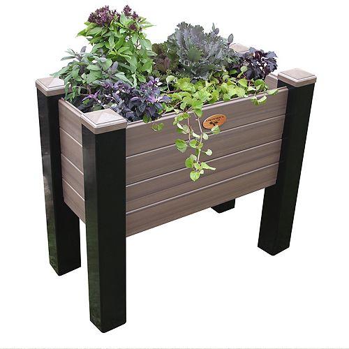 Jardinière sans entretien de 45cm x 91cm x 50cm Noir / Noyer