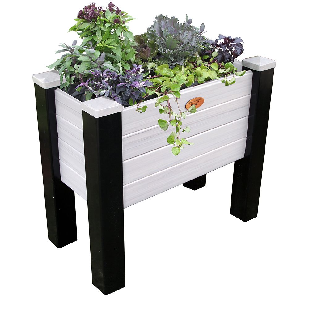 Gronomics Maintenance Free Elevated Garden Bed 18 Inch x36 Inch x32 Inch - 12.5 Inch D Black/ Gray