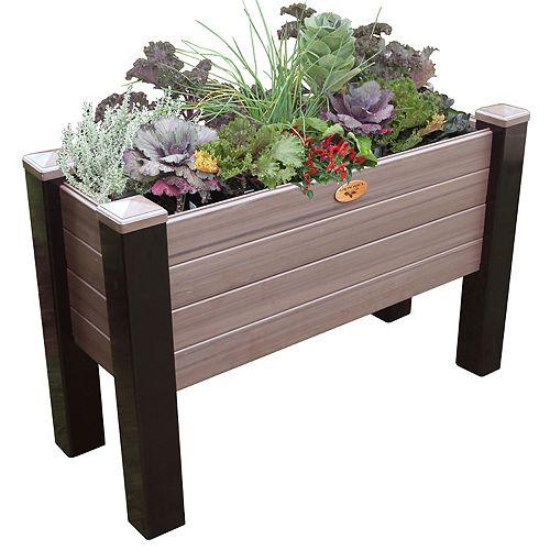 Jardinière sans entretien de 45cm x 121cm x 50cm Noir / Noyer