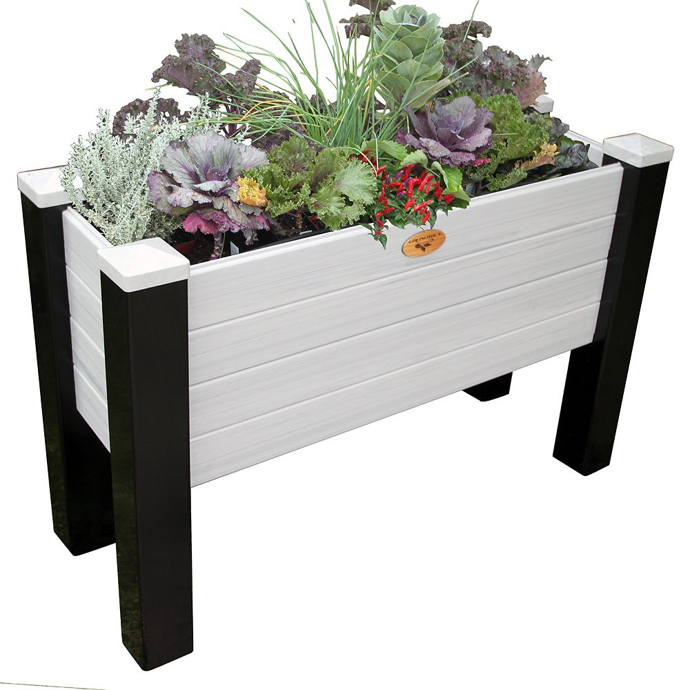 Gronomics Maintenance Free Elevated Garden Bed 18 Inch x48 Inch x32 Inch - 12.5 Inch D Black/ Gray