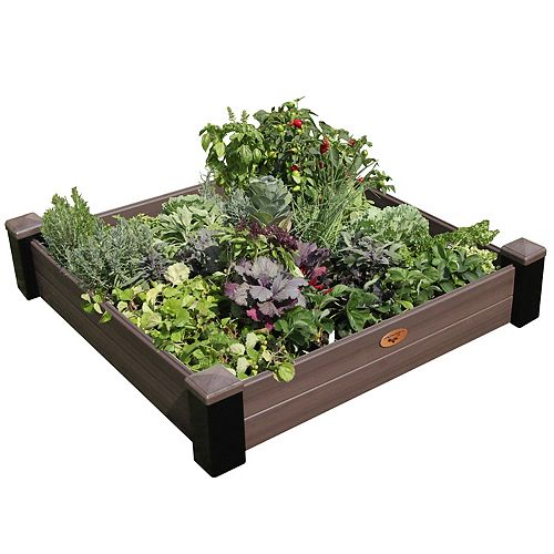 Jardinière en hauteur sans entretien de 121cm x 121cm x 25cm Noir / Noyer