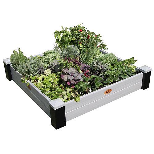Jardinière en hauteur sans entretien de 121cm x 121cm x 25cm Noir / Gris