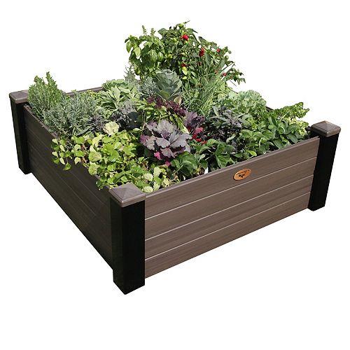 Jardinière en hauteur sans entretien de 121cm x 121cm x 45cm Noir / Noyer