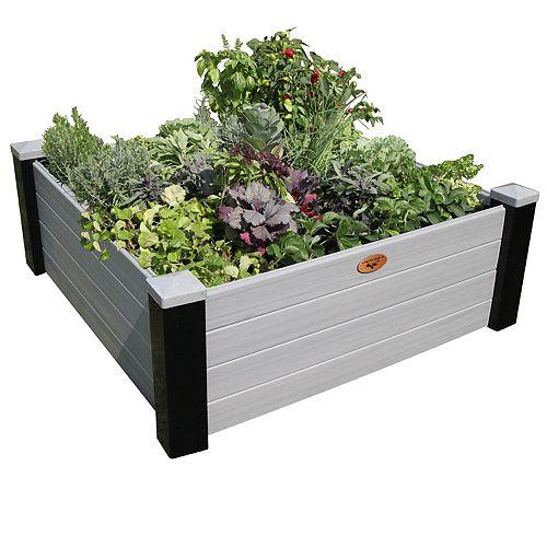 Jardinière en hauteur sans entretien de 121cm x 121cm x 45cm Noir / Gris