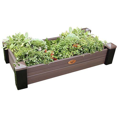 Jardinière en hauteur sans entretien de 60cm x 121cm x 25cm Noir / Noyer